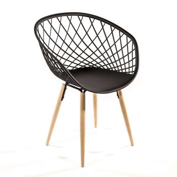Chaise design en polypropylène noir et bois naturel - Sidera - 1