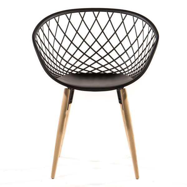 Chaise design en polypropylène noir et bois - Sidera - 2