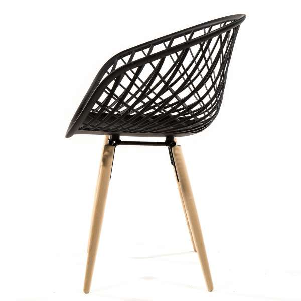 Chaise design en polypropylène et bois naturel profil - Sidera - 4