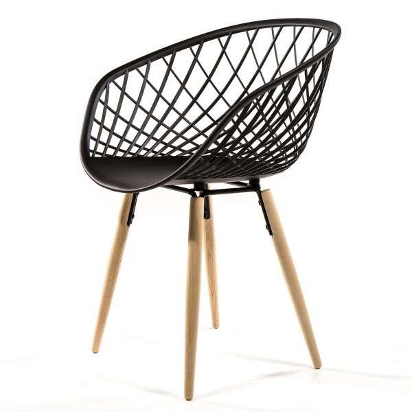 Chaise noire en polypropylène et bois naturel - Sidera - 6