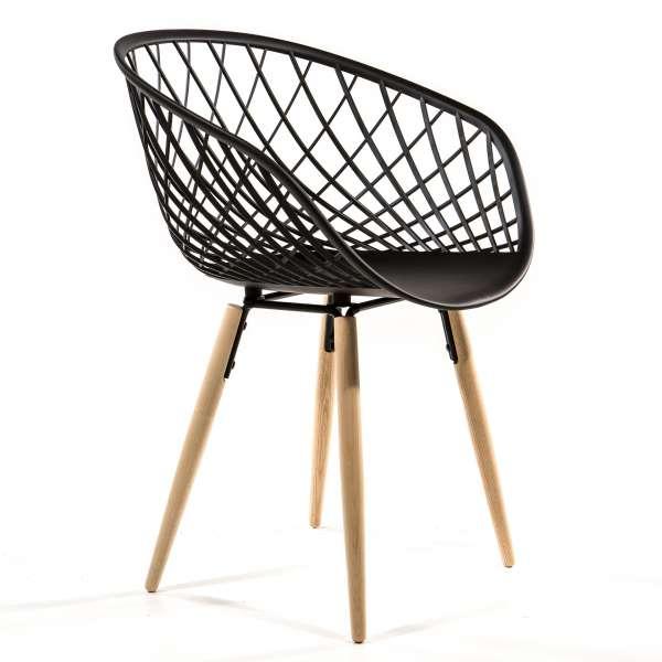 Chaise en polypropylène noir et bois naturel - Sidera - 7
