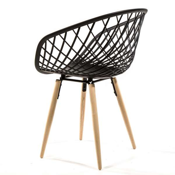 Chaise en polypropylène noir et bois - Sidera - 8