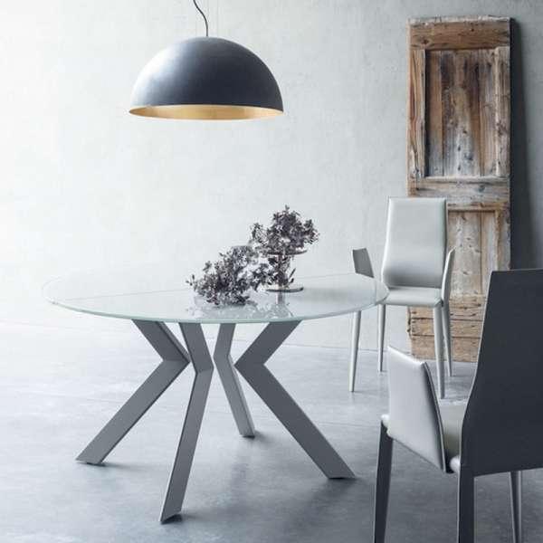 Table ronde design extensible en verre extralight blanc et métal ...