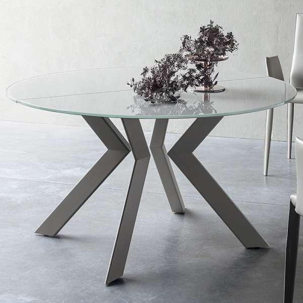Table ronde extensible verre et métal - Zoe rond - 2