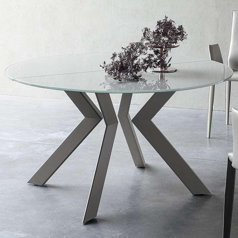 Table Ronde En Verre Design 4 Chaises: Table Ronde Design Extensible En Verre Extralight Blanc Et