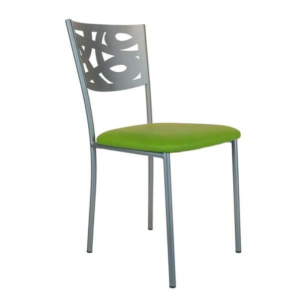 Chaise contemporaine en métal et vinyle - Claudie - 1