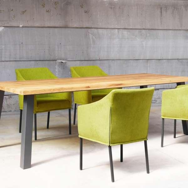 Fauteuil contemporain en tissu vert et métal - Illa - 10
