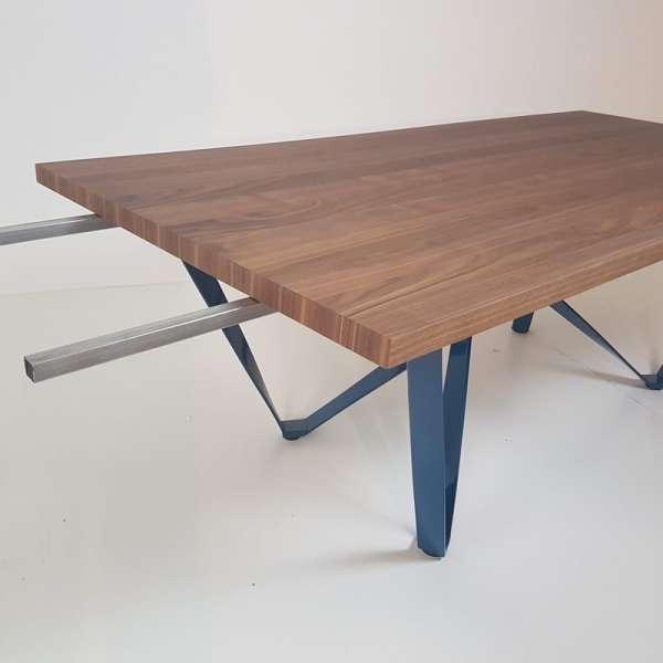 Table avec rallonge en métal et bois - Wave - 8