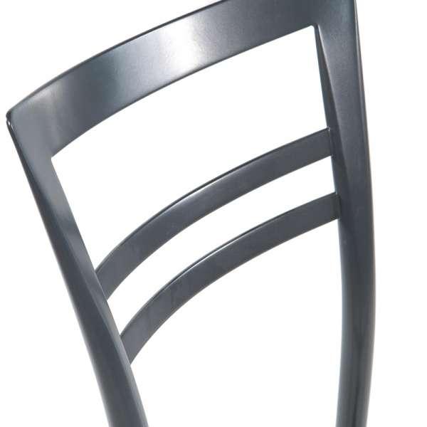 Tabouret snack rembourré en métal dossier gris opaque - Go 1513 19 - 9