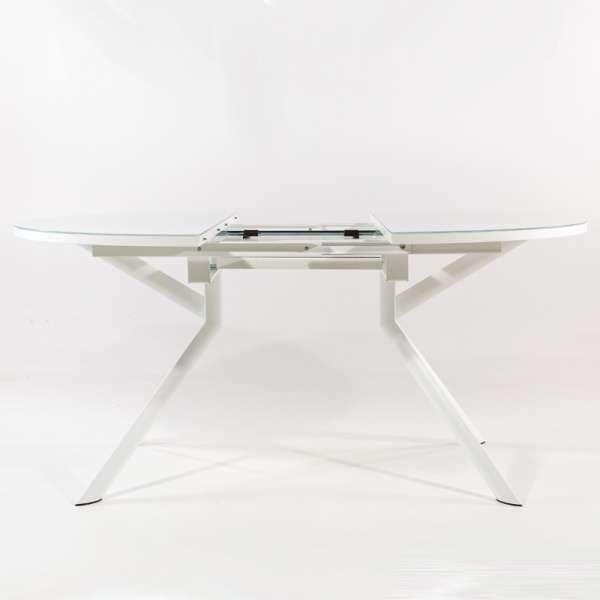 Table ronde en verre extensible blanc - Giove - 5