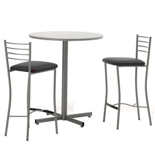 Table hauteur 90 cm pour cuisine ronde en mélaminé et métal - Voyager  - 3