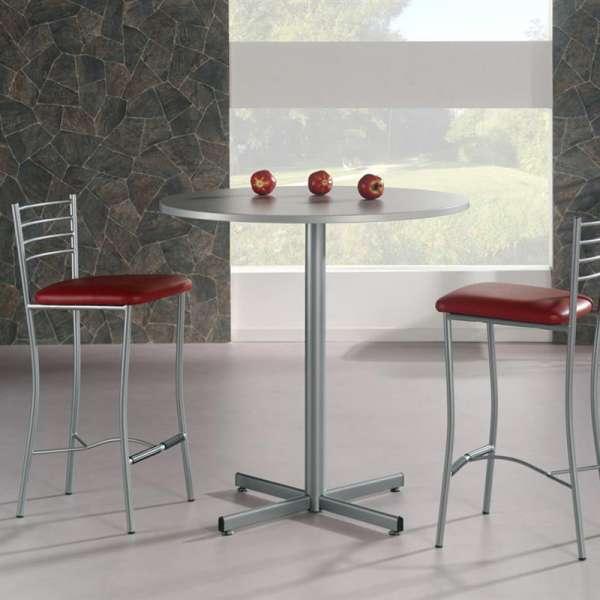 Table hauteur 90 cm de cuisine ronde en mélaminé et métal - Voyager - 2