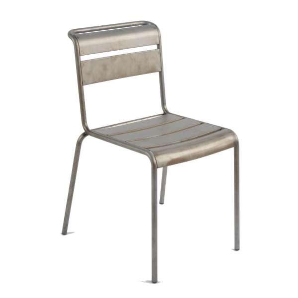 Chaise industrielle en métal vernis transparent - Lutetia - 1