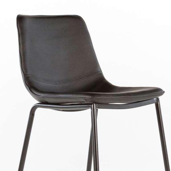 Tabouret coque noir et pieds en métal noir - Coque - 12