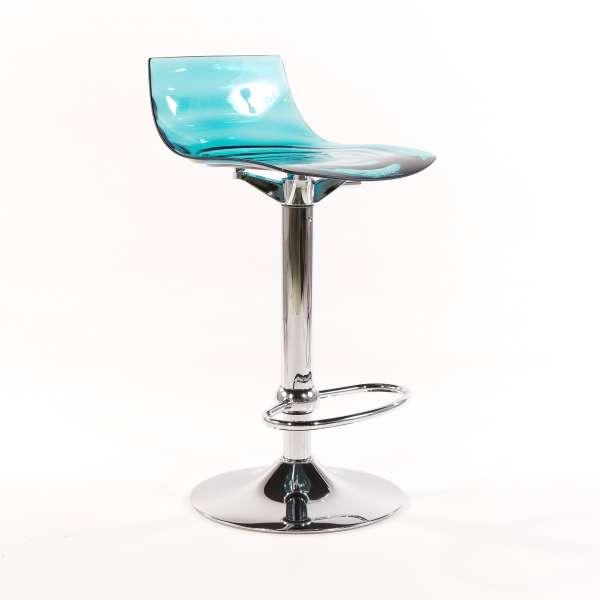 Tabouret réglable design en technopolymère vert transparent et métal - 1477 5 - 1