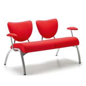 Banquette moderne en tissu rouge et métal peint aluminium - Ainhoa