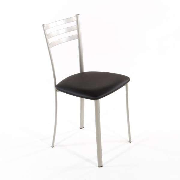 Chaise de cuisine en métal satiné assise noire - Ace 1320 - 1