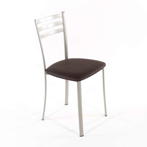 Chaise de cuisine en métal satiné assise marron moka - Ace 1320 - 5