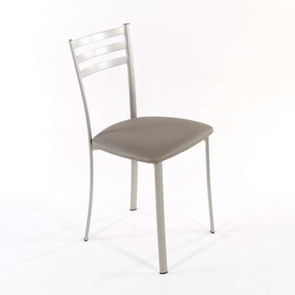 Chaise de cuisine en métal satiné assise taupe - Ace 1320 - 6
