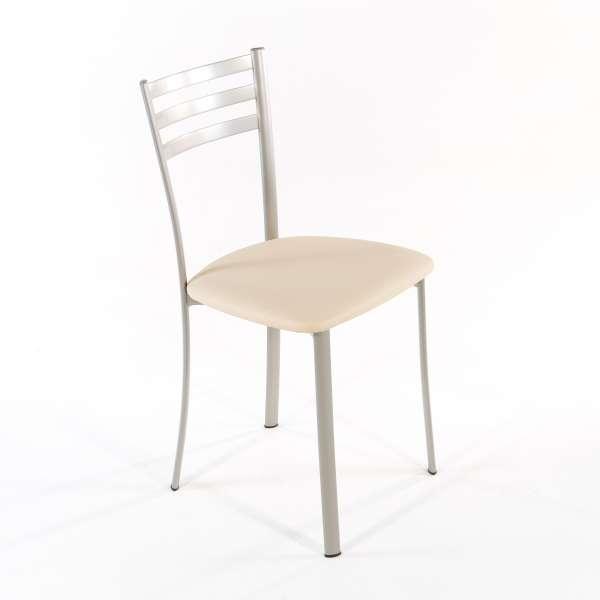 Chaise de cuisine en métal satiné assise noisette - Ace 1320 - 7