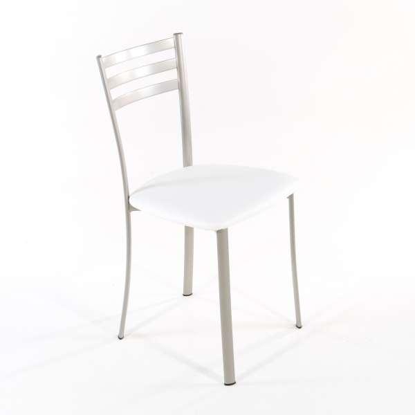Chaise de cuisine en métal satiné assise blanche - Ace 1320 - 8