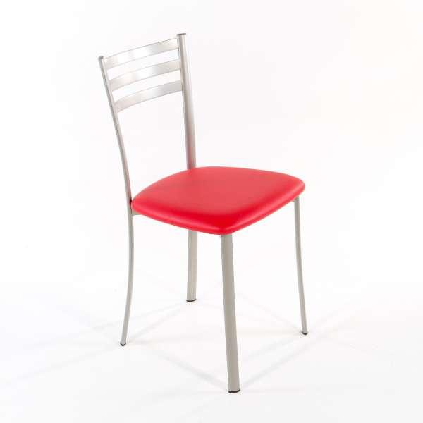 Chaise de cuisine en métal satiné assise rouge - Ace 1320 - 9