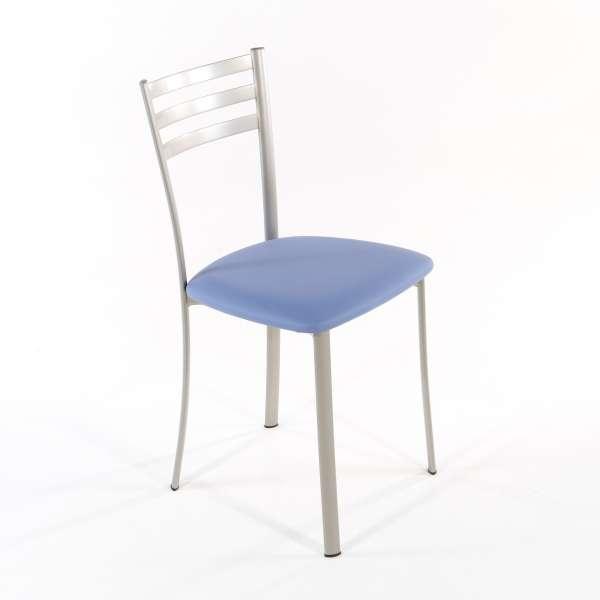 Chaise de cuisine en métal satiné assise bleu - Ace 1320 - 10