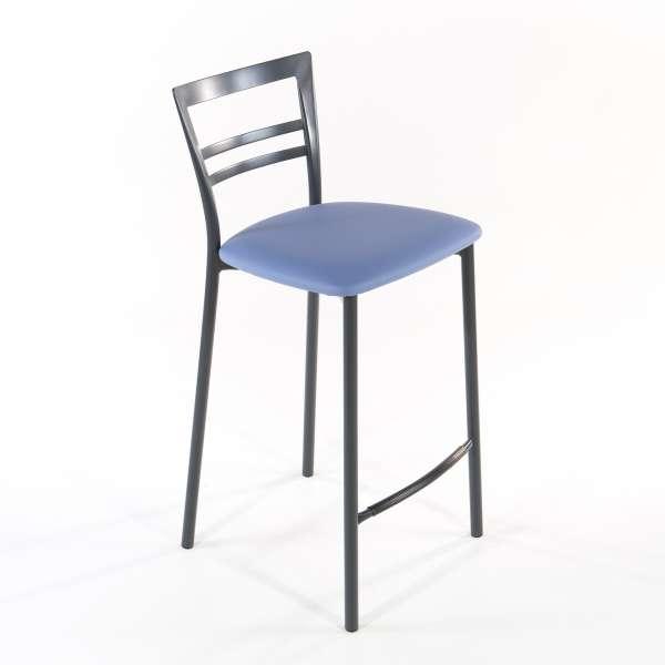 Tabouret snack contemporain en vinyle et métal gris opaque assise bleue - Go 1513 - 10