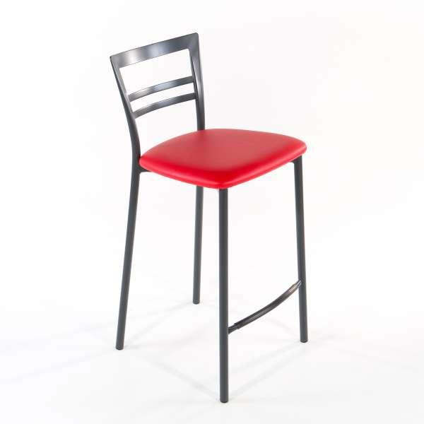Tabouret snack contemporain en vinyle et métal gris opaque assise rouge - Go 1513 2 - 11