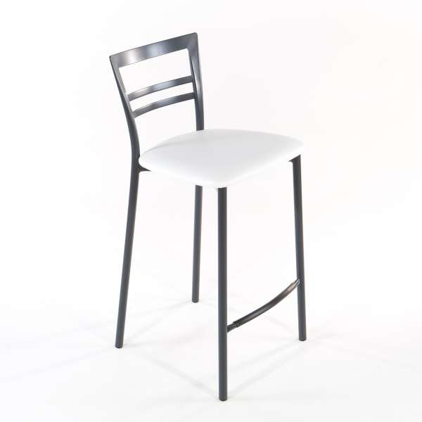 Tabouret snack contemporain en vinyle et métal gris opaque assise blanche - Go 1513 3 - 12