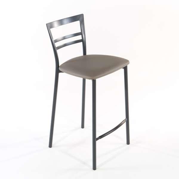Tabouret snack contemporain en vinyle et métal gris opaque assise taupe - Go 1513 5 - 14