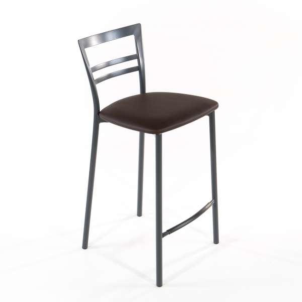 Tabouret snack contemporain en vinyle et métal gris opaque assise moka - Go 1513 6 - 15
