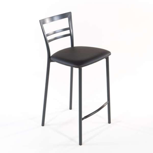 Tabouret snack contemporain en vinyle et métal gris opaque assise gris anthracite - Go 1513 9 - 18