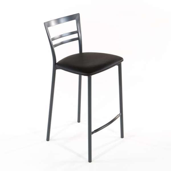 Tabouret snack contemporain en vinyle et métal gris opaque assise noire - Go 1513 10 - 19