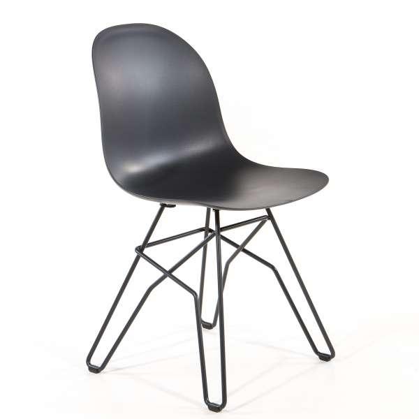 Chaise design en polypropylène noir et métal - 1664 Academy Connubia - 1