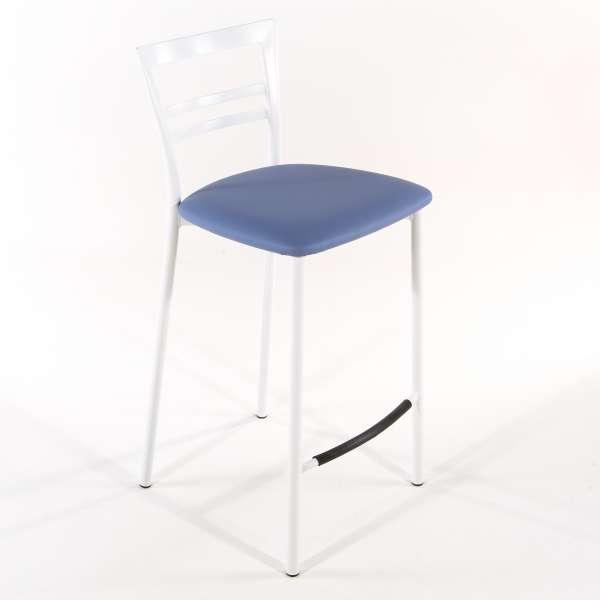 Tabouret snack contemporain en vinyle et métal blanc assise bleue - Go 1513 19 - 20