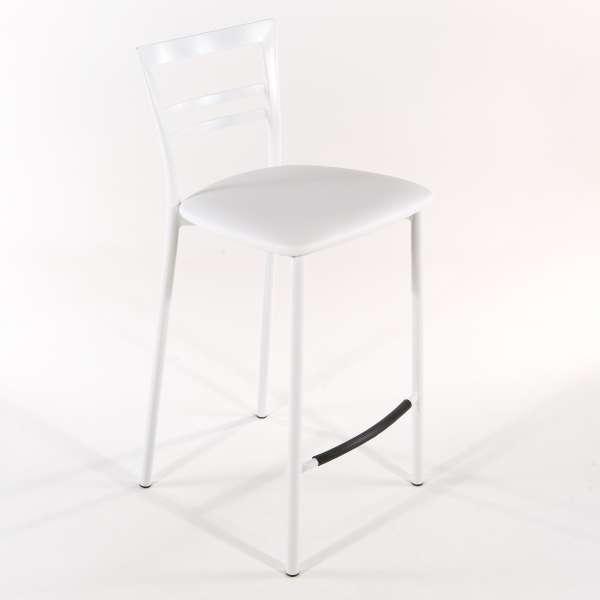 Tabouret snack contemporain en vinyle et métal blanc assise banche - Go 1513 22 - 22