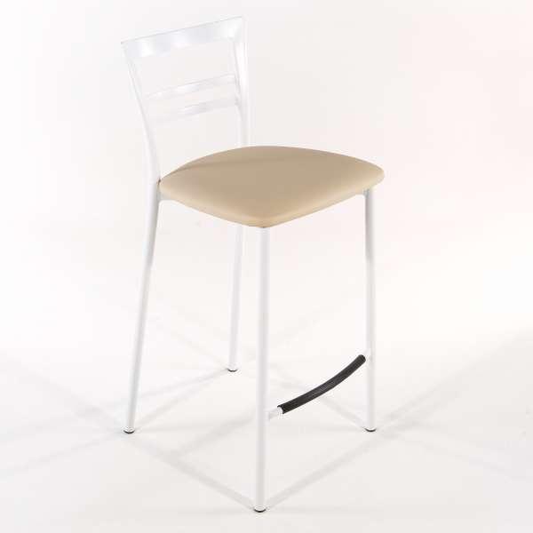 Tabouret snack contemporain en vinyle et métal blanc assise noisette - Go 1513 23 - 23