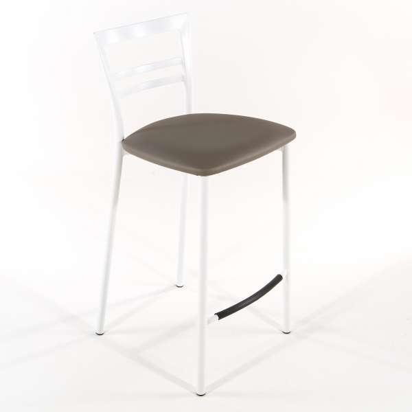 Tabouret snack contemporain en vinyle et métal blanc assise taupe - Go 1513 36 - 24