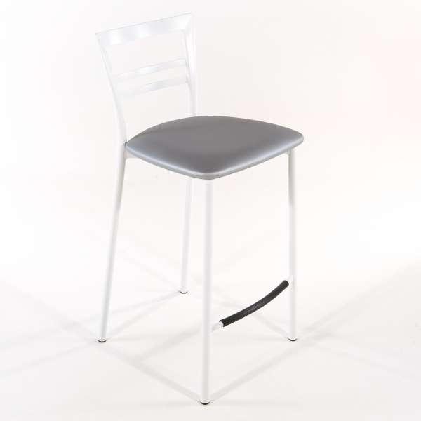 Tabouret snack contemporain en vinyle et métal blanc assise alu - Go 1513 26 - 25
