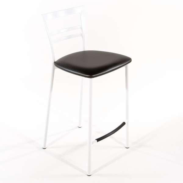 Tabouret snack contemporain en vinyle et métal blanc assise carbon look - Go 1513 27 - 26