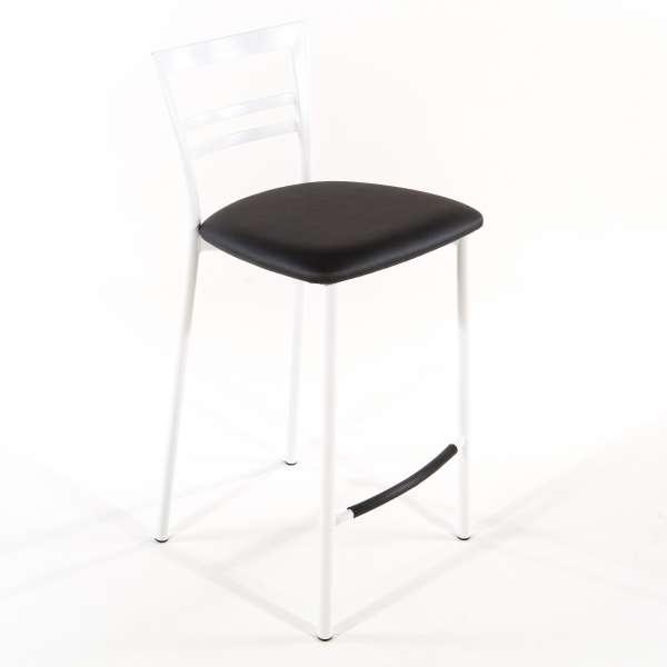 Tabouret snack contemporain en vinyle et métal blanc assise gris anthracite - Go 1513 28 - 27