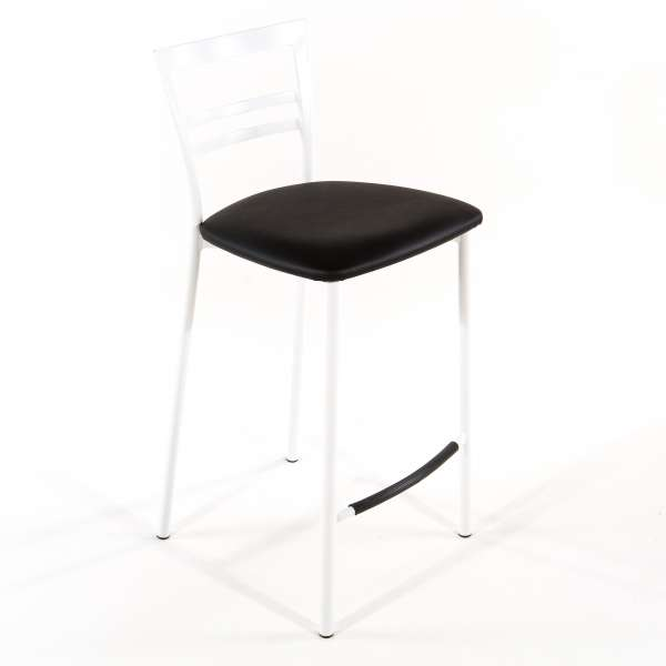 Tabouret snack contemporain en vinyle et métal blanc assise noire  - Go 1513 29 - 28