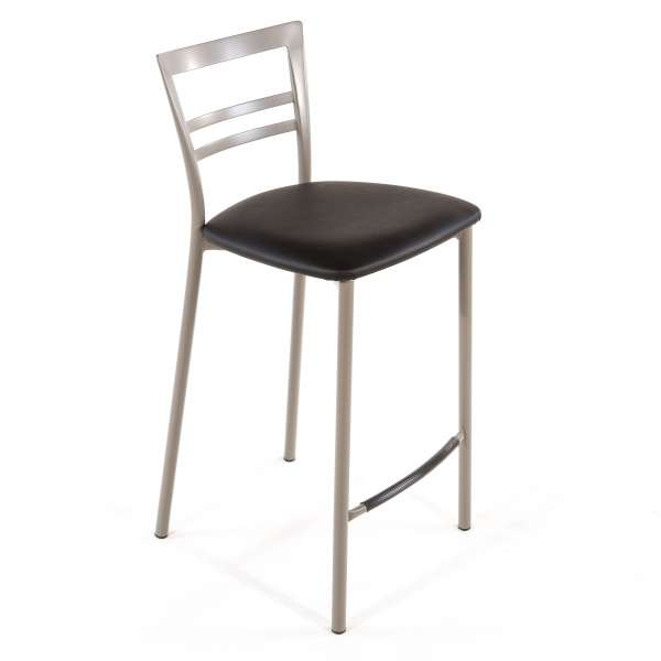 Tabouret snack contemporain en vinyle et métal taupe assise noire - Go 1513 31 - 30