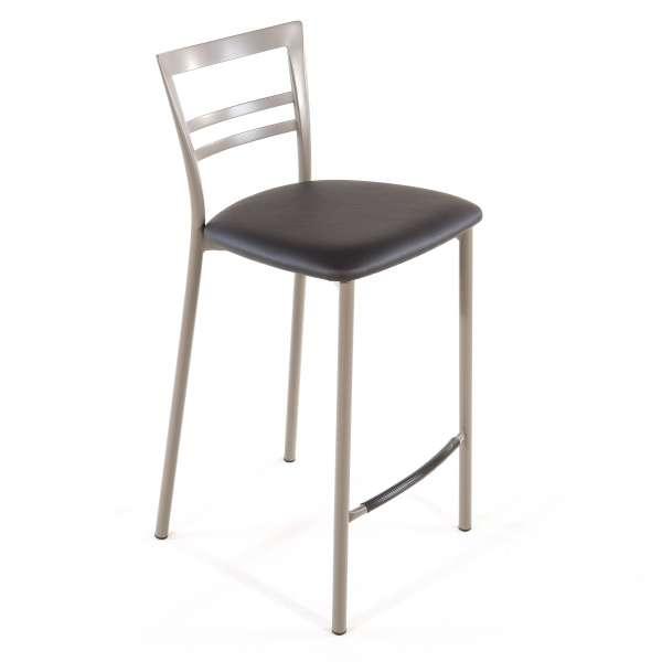 Tabouret snack contemporain en vinyle et métal taupe assise gris anthracite - Go 1513 32 - 31