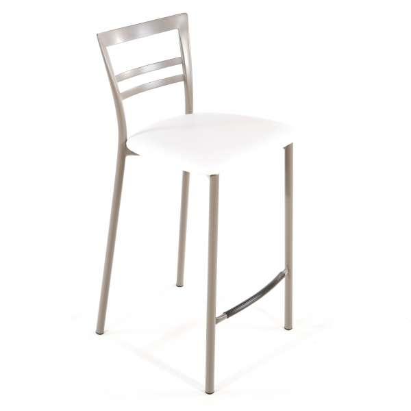 Tabouret snack contemporain en vinyle et métal taupe assise blanche - Go 1513 38 - 37