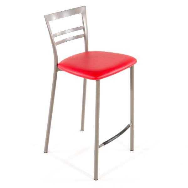 Tabouret snack contemporain en vinyle et métal taupe assise rouge - Go 1513 39 - 38