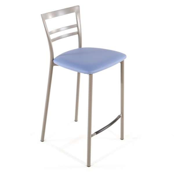 Tabouret snack contemporain en vinyle et métal taupe assise bleue - Go 1513 41 - 39
