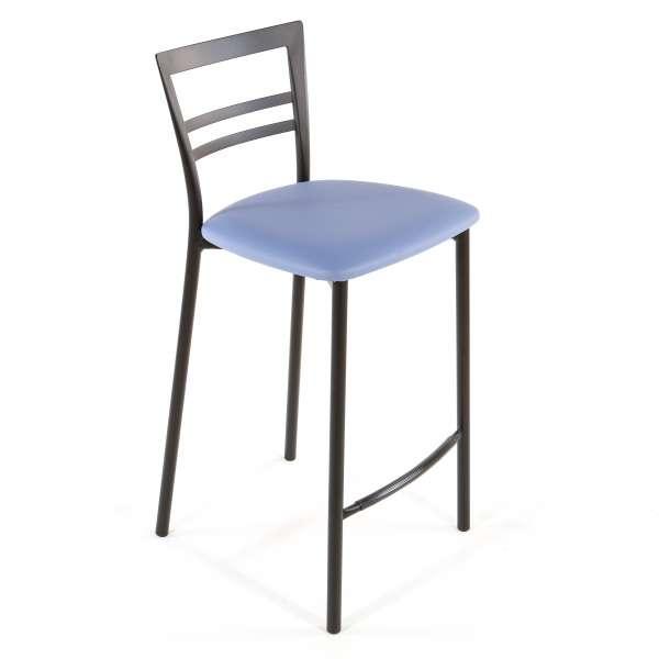 Tabouret snack contemporain en vinyle et métal noir assise bleue - Go 1513 42 - 40