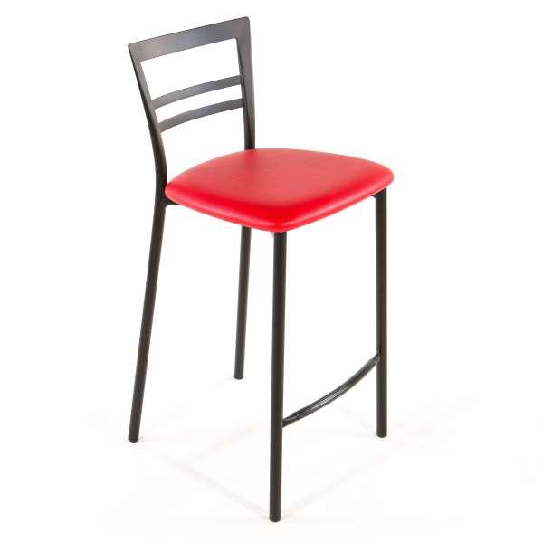 Tabouret snack contemporain en vinyle et métal noir assise rouge - Go 1513 44 - 41